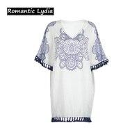 Bohemian Style Summer Dress Women V-Neck Half Sleeve Tribal Print Shirt Dress Loose Tassel Holiday Beach Dresses Female Casual
