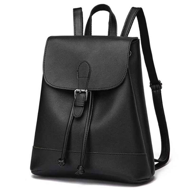 4aa490c94 AEQUEEN PU Leather Backpack Minimalist Women Rucksack Solid Lady Shoulder  Bags College Bookbag Travel Daypack Girl Preppy Style-in Backpacks from  Luggage ...