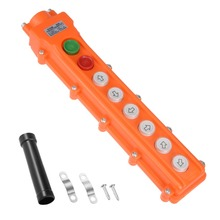 UXCELL Rainproof Hoist Crane Pendant Control Station Push Button Switch Up Down Left Right Forth Back On Off 8 Ways Orange
