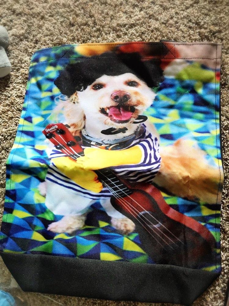 Your image photo Print Custom individual waterproof Nylon Fabric shopping bag gift bag pack of 2 photo review