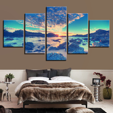 Canvas Wall Art Pictures Frame Print 5 Piece Beach Wave Reef Stones Painting Sunrise Sky Clouds Seascape Living Room Home Decor