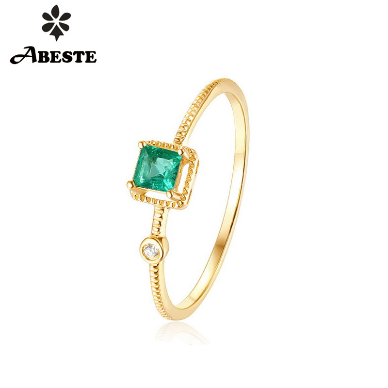 ANI 14K Yellow Gold Women Wedding Ring Princess Natural Emerald Certified Engagement Ring Anillo De Oro Gemstone Fine Jewelry