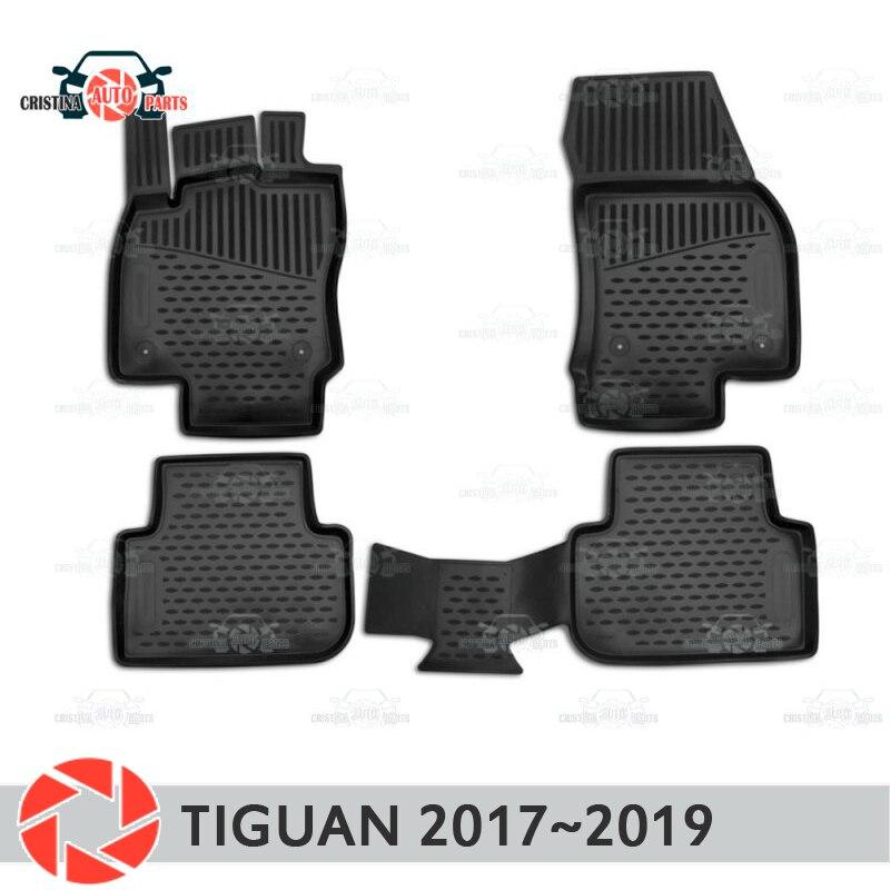 Tapis de sol pour Volkswagen Tiguan 2017 ~ 2019 tapis antidérapant polyuréthane protection contre la saleté accessoires de style de voiture intérieure