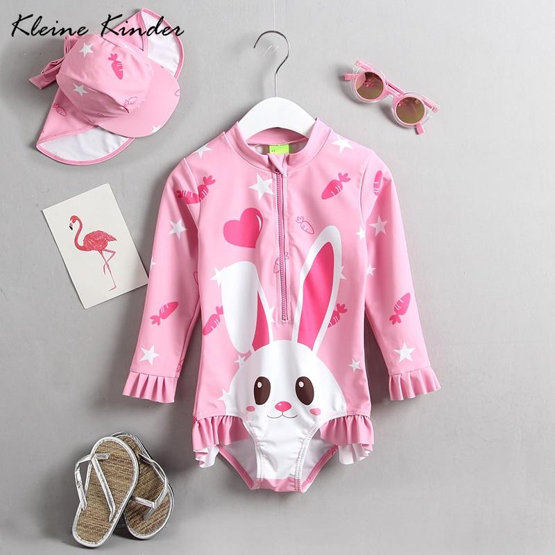 2018 sommer baby badeanzug mädchen bade kleidung rosa lange ärmeln body bademode kinder mädchen 1 stück schwimmen anzug strand tragen