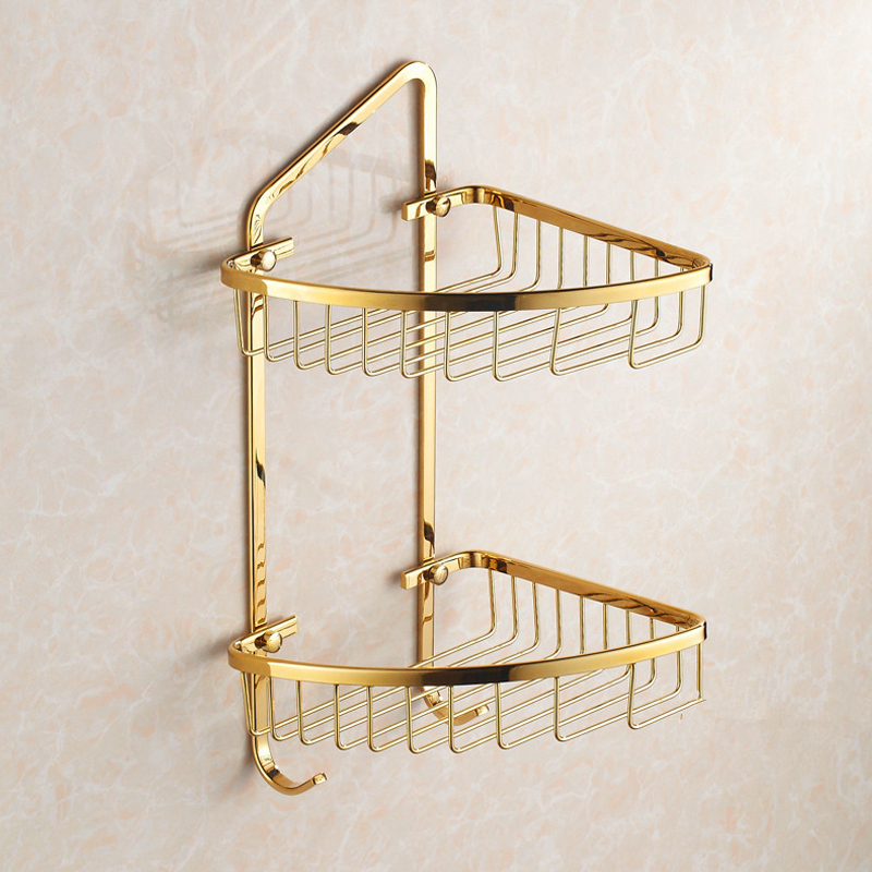 цена на Luxury Corner Shelf with Towel Hook, 2 Tiers Shower Canddy, Polished Gold Color, Great for Bathroom and Kitchen Organizer