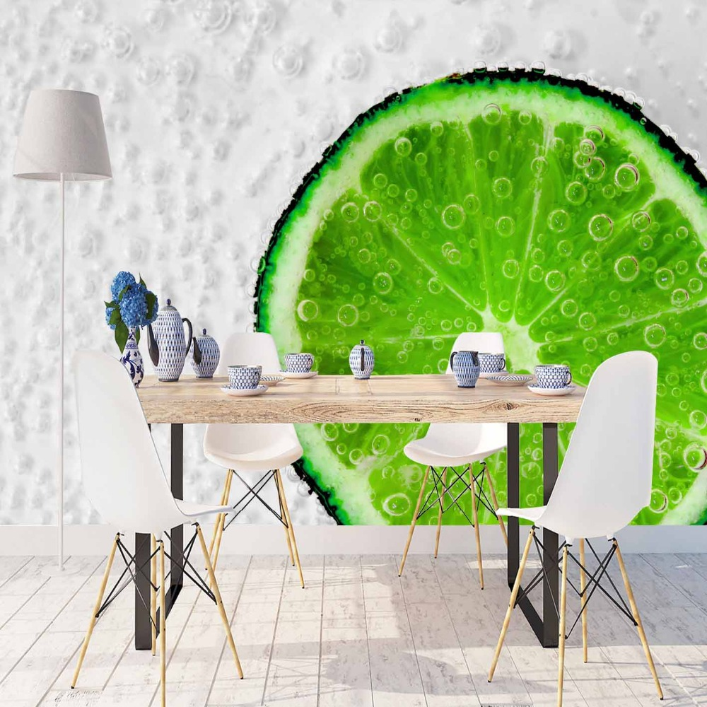 Else White Floor Slice Of Green Lemons Air Bubbles 3d Print Photo Cleanable Fabric Mural Home Decor Kitchen Background Wallpaper