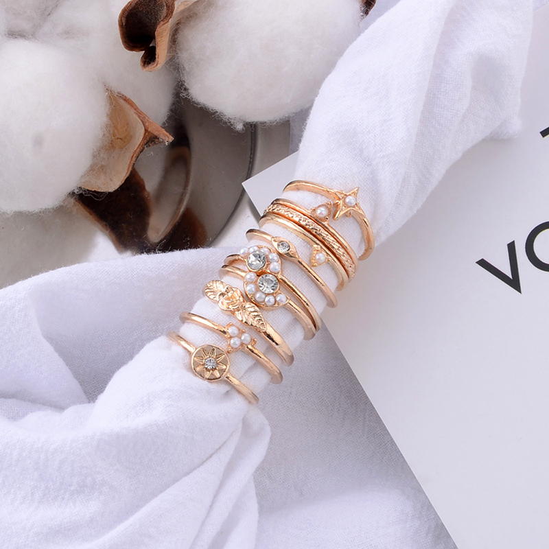 CUTEECO 10 Pcs set Delicate Luxury Star Crystal Geometry Irregular Opal Woman Joint Ring Set Charm Party Wedding Ring Jewelry in Rings from Jewelry Accessories