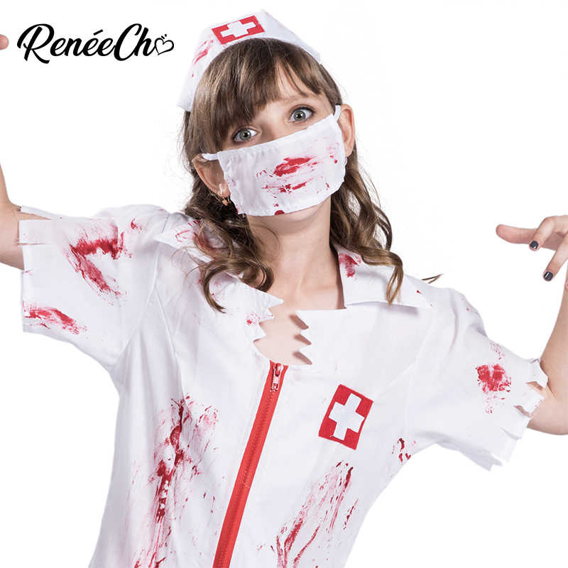 1fd9842720c47 ... Halloween Costume For Kids Girl Bloody Nurse Costume Child Vampire  Cosplay scary doctor zombie costume halloween ...