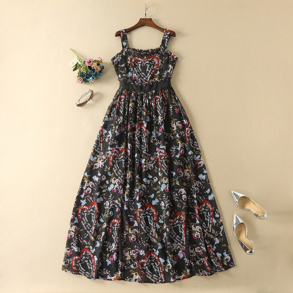 2018 Black Spaghetti Straps Floral Heart Letter Print Dresses Women Designer vestido de festa longo Brand Dress Elegant 80157