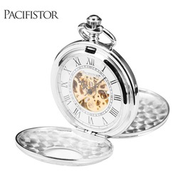 INFANTRY Pocket Watch Mechanical Full Metal Alchemist Skeleton Pocket Watches Men Steampunk Necklace Fob Clock Chain Silver 2020
