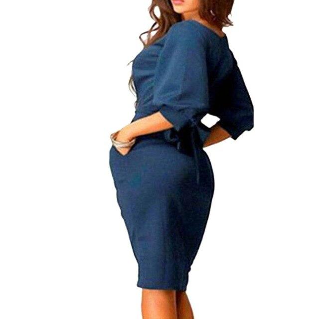 Women Dress 2018 Summer Work Office Half Sleeve Dress 5