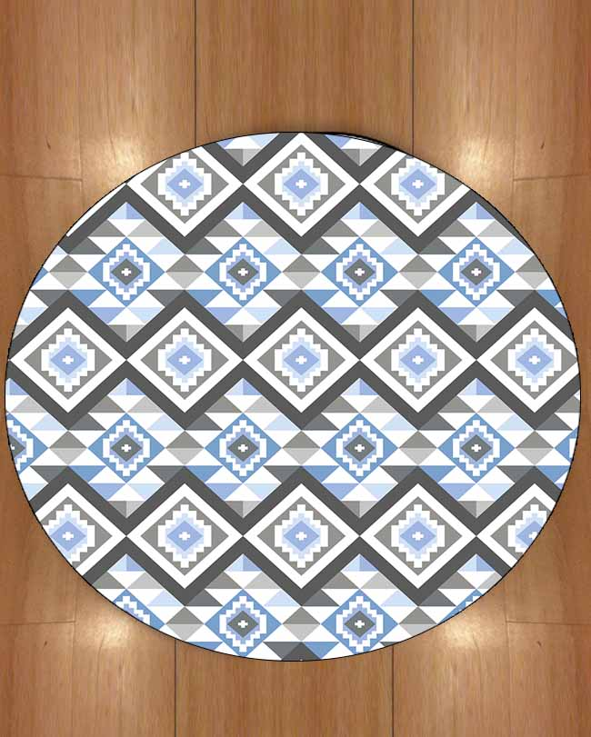 Else Blue Gray Ethnic Geometric Bohemian Aztec Nordec 3d Print Anti Slip Back Round Carpets Area Rug For Living Rooms Bathroom