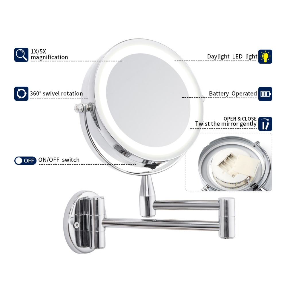 Glamo Bath Led Mirror 6 Inch 1X/5X Magnification Wall Mounted Adjustable Makeup Mirror Dual Arm Extend 2-Face Cosmetic Mirror 2