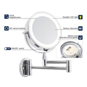 Image 3 - Banyo Led makyaj aynası 1X/3X 5X 7x büyütme duvara monte ayarlanabilir kol ayna çift kol uzatın 2 yüz kozmetik ayna