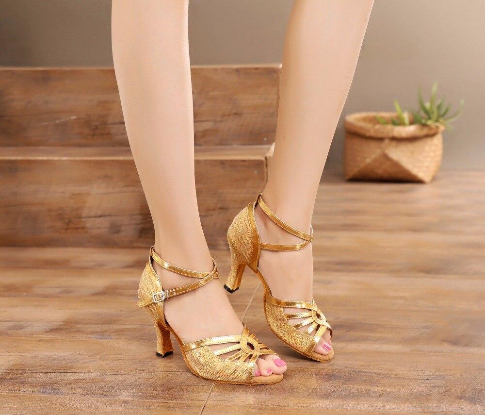 Chaussures de danse latine pour femmes dorées chaussures de danse Tango de salon professionnel chaussures de Salsa à semelle souple en daim
