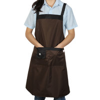 UXCELL Kitchen Restaurant Women Cooking Self Tie Dual Pocket Bib Apron Dress Apron Bib Pocket