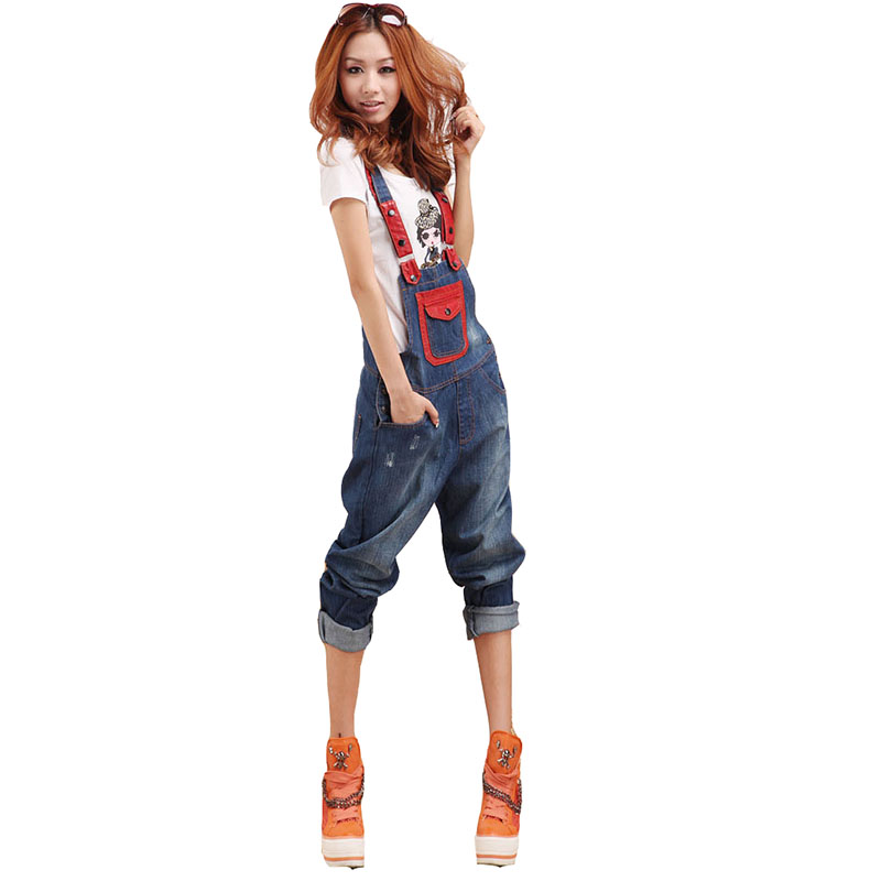 Women boutique cowboy denim overalls High quality fashion Bleached ripped scratched boyfriend loose ladies Jeans with