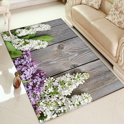 Else Gray Wooden Purple White Orchids Lavander 3d Print Non Slip Microfiber Living Room Decorative Modern Washable Area Rug Mat