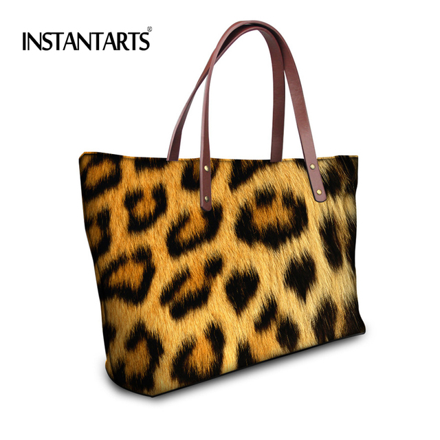 Instantarts Leopard Print Handbags Women Large Capacity Las High Quality Shoulder Bags Famous Brand Tote
