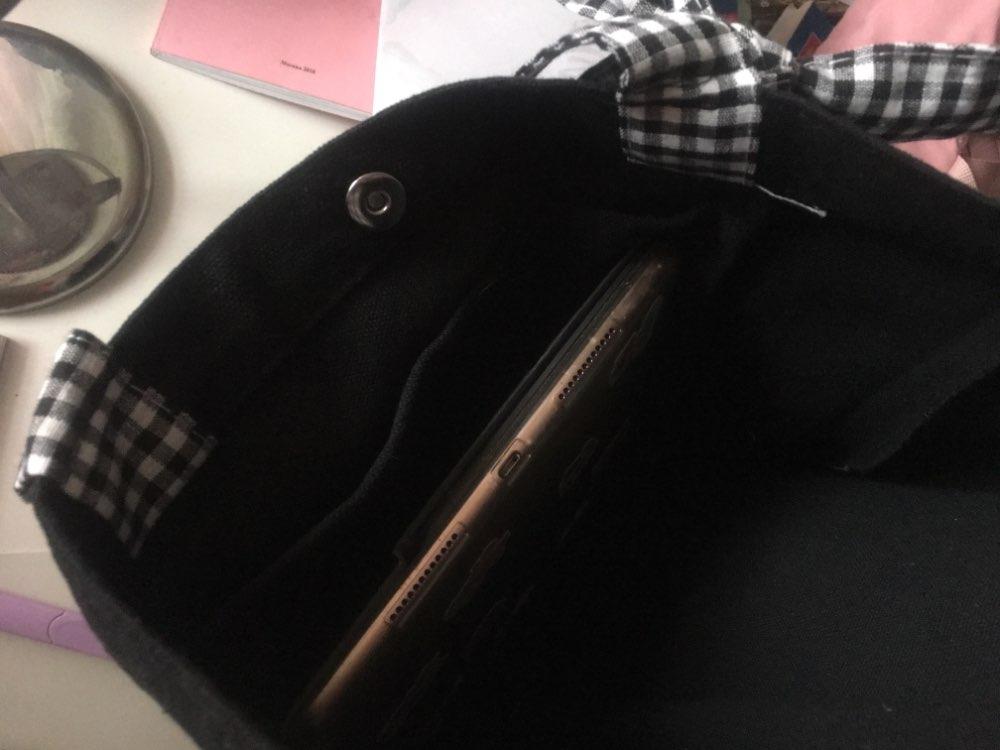 Lady bow canvas bag black shoulder bag portable plaid canvas bag shopping bag photo review