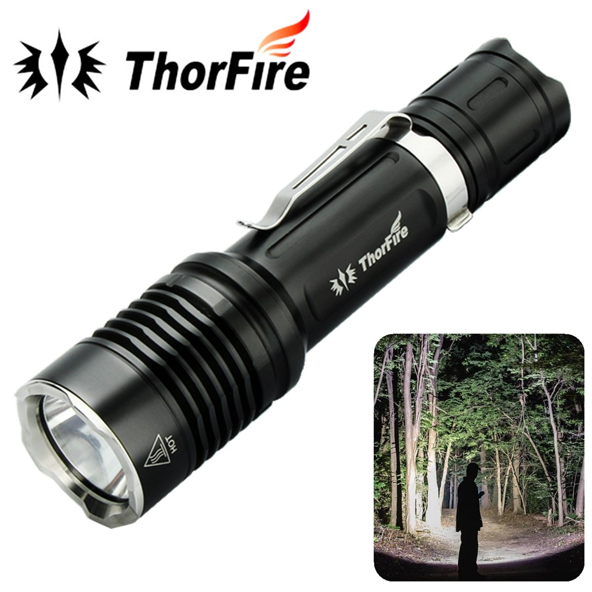 ThorFire VG10S XPL2 Ultra Bright Tactical Powerful LED Flashlight 1100LM 5 Modes Camping Hiking Hunting torch 18650 battery super bright tactical 3 modes 18000 lumen 9x xm l l2 led powerful flashlight torch for hiking camping hunting battery charger