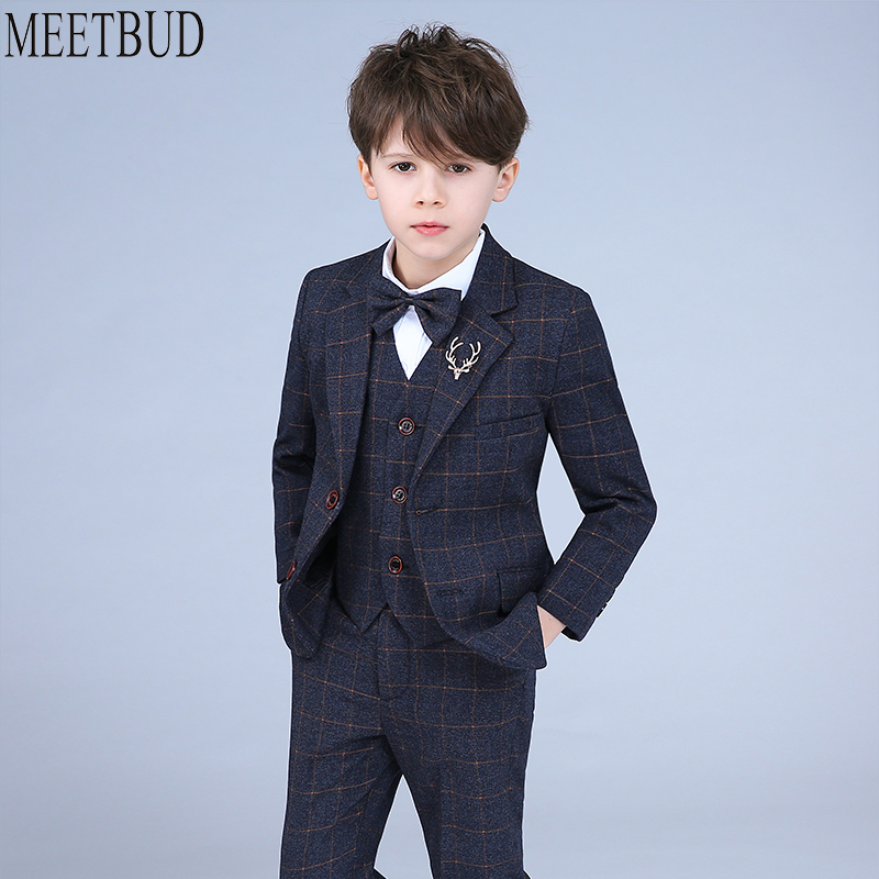 MEETBUD Baby Boys Kids Wedding Suits blazers Slim boys suit children Stage Costume 2018 Spring New Casual Plaid Jacket boys suit new spring autumn teen boys single breasted blazers casual wedding coat jacket children s top clothing kids clothes