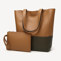 Women Faux Leather Bucket Style Shoulder Tote Bag Messenger Handbag With Wallet