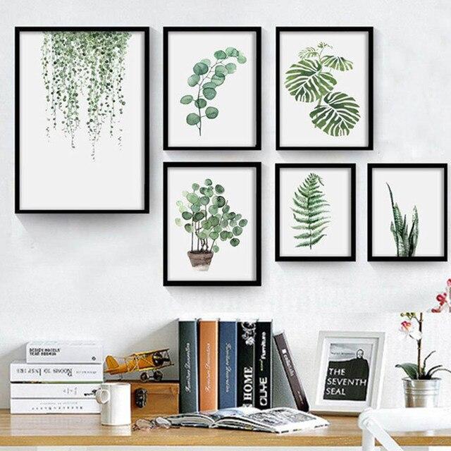 Acuarela planta Tropical hojas arte minimalista lienzo cartel ...