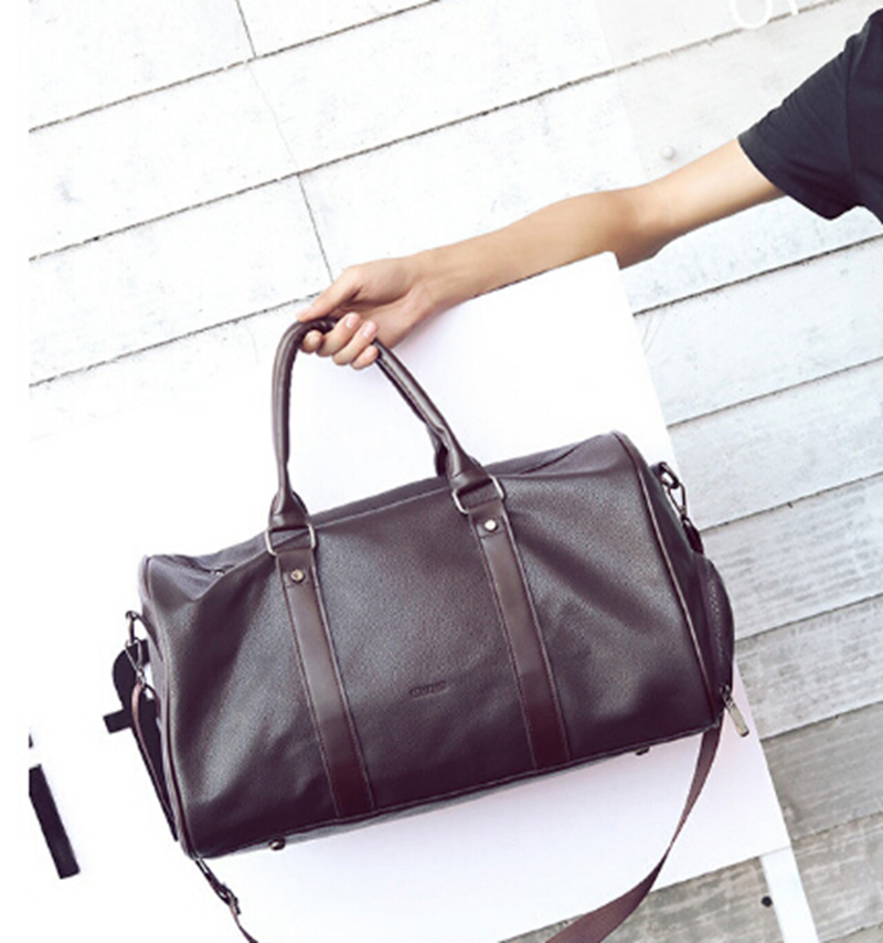 Trend PU Leather Travel Duffel Bag With Shoe Compartments Classic Bag Tote Travel Bag