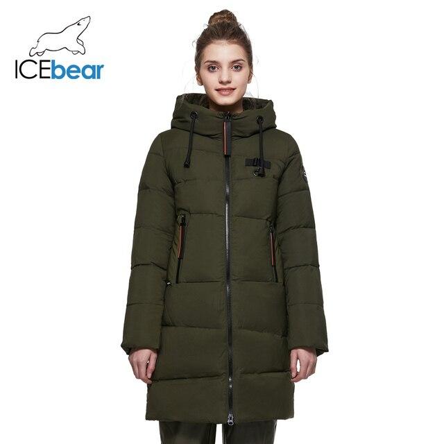 ICEbear 2017 Удлинённое женское пальто с капюшоном для отдыха зимой модная тёплая парка с большими карманами зимний женский пуховик 17G661D