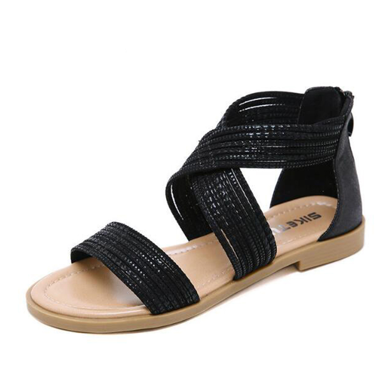 C395 Zapatos Verano Sandalias Gran Tamaño Moda De Cremallera Simple Retro Apricot negro Romano Trasera Planos Con Estilo Mujer 2019 PawFdqa