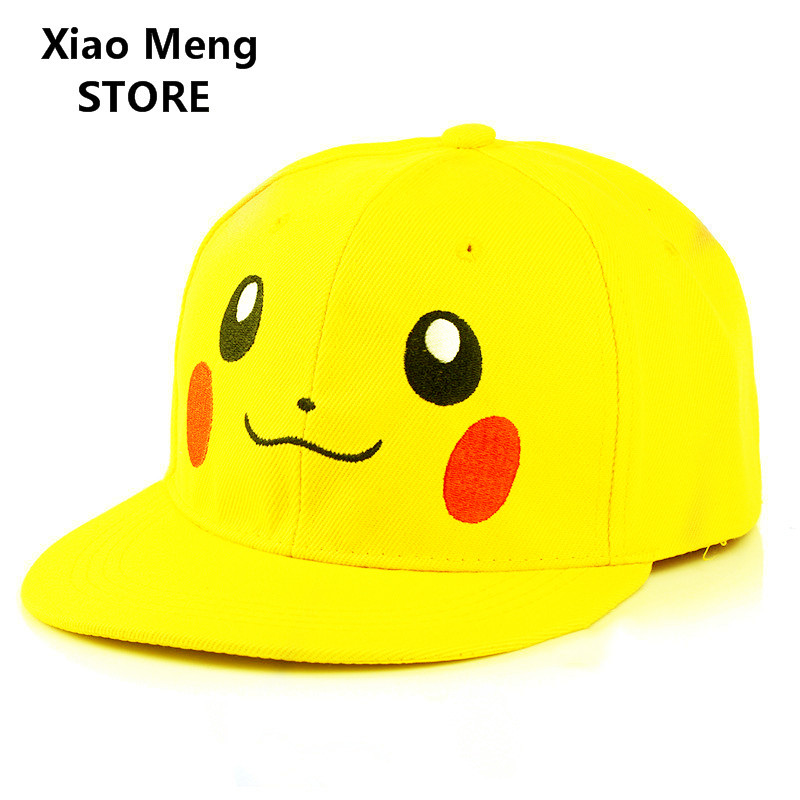New Yellow Pikachu Baseball Cap Hat Men Women Adjustable Embroidery Pokemon Mobile Game Pokemon Go Snapback Hat Hip Hop Caps M56