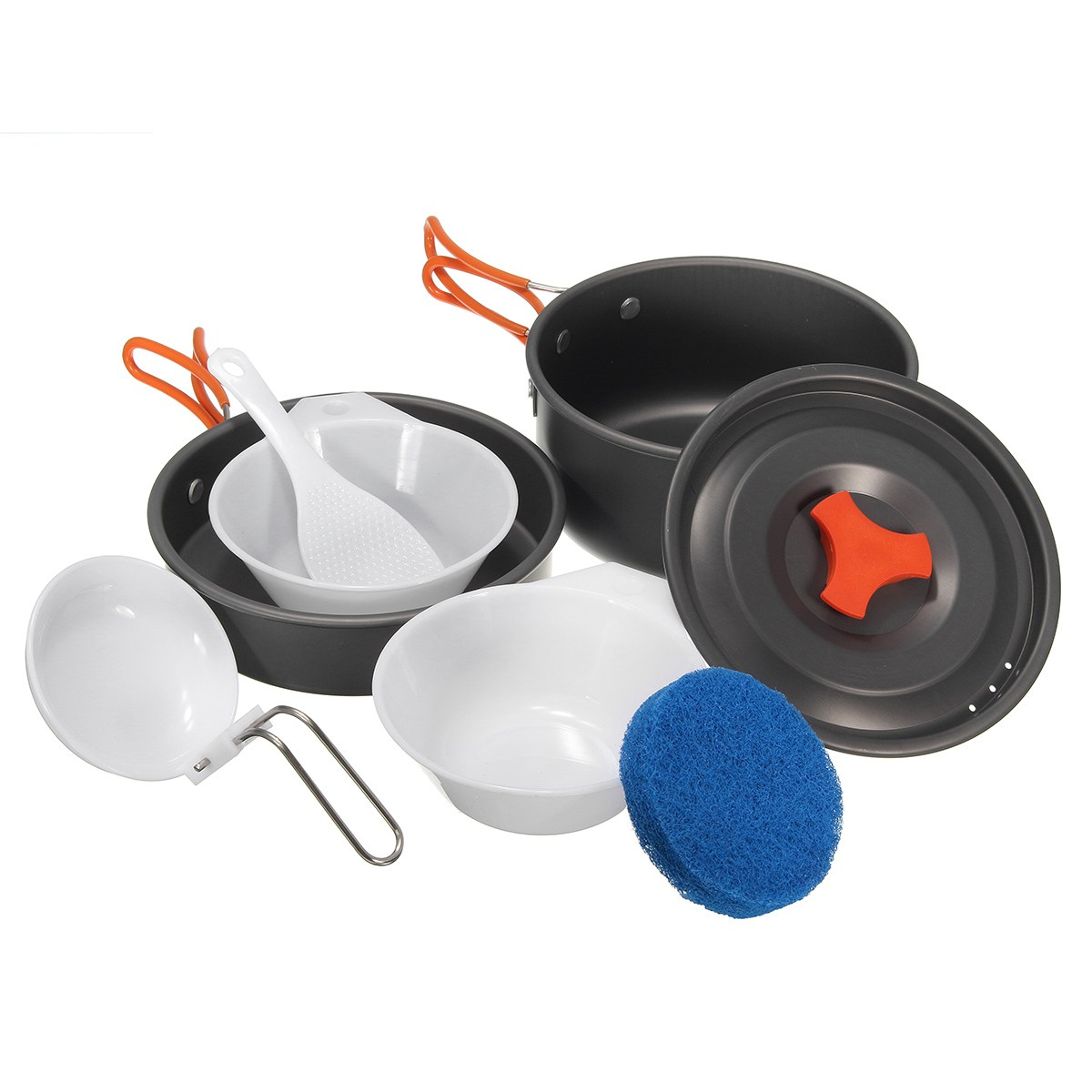 Portable 8Pcs Portable Outdoor Cooking Set Camping Hiking Cookware travel kit Picnic equipment Bowl Pot Pan outdoor tableware