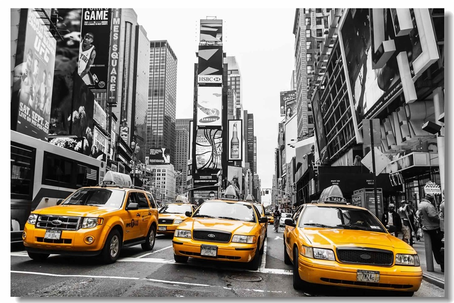 custom canvas wall decals the ny tax poster new york yellow cabs stickers manhattan times square. Black Bedroom Furniture Sets. Home Design Ideas