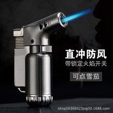Creative Blue Flame Windproof Cigar Lighter Jet Butane Welding Gun Metal Pipe Lighter Torch fling Flame creative flame dragon pattern lighter antique brass