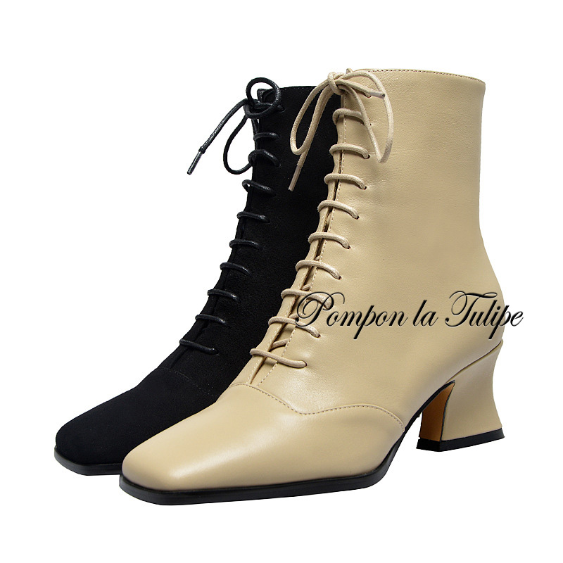 BHS 9011153 Fashion Chic Genuine Cow Leather 6CM Chunky Heel SquareToe Cross Tied Decorate Zipper Casual Wear Women Martin Boots in Mid Calf Boots from Shoes