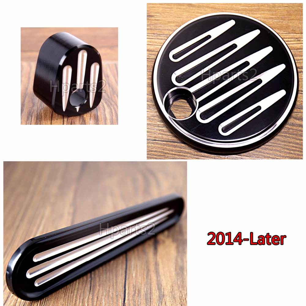 Shallow Cut Black Fuel Tank Door Dash Track Insert Ignition Cap For Harley Touring Electra Street