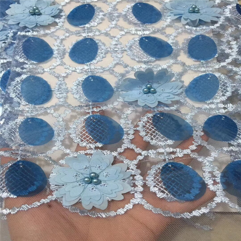 High Quality Nigerian Lace Fabrics 3d Flower Tulle Lace Beaded Powder Blue Lace Large Sequins African Wedding Lace Fabric X882-1High Quality Nigerian Lace Fabrics 3d Flower Tulle Lace Beaded Powder Blue Lace Large Sequins African Wedding Lace Fabric X882-1