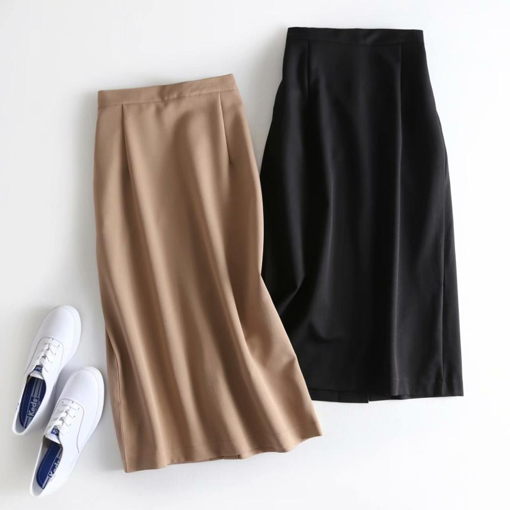 Obrix Spring Summer Formal Long Loose Office Lady High Elastic Waist Skirt Mid Calf Length Casual Style Skirt For Women