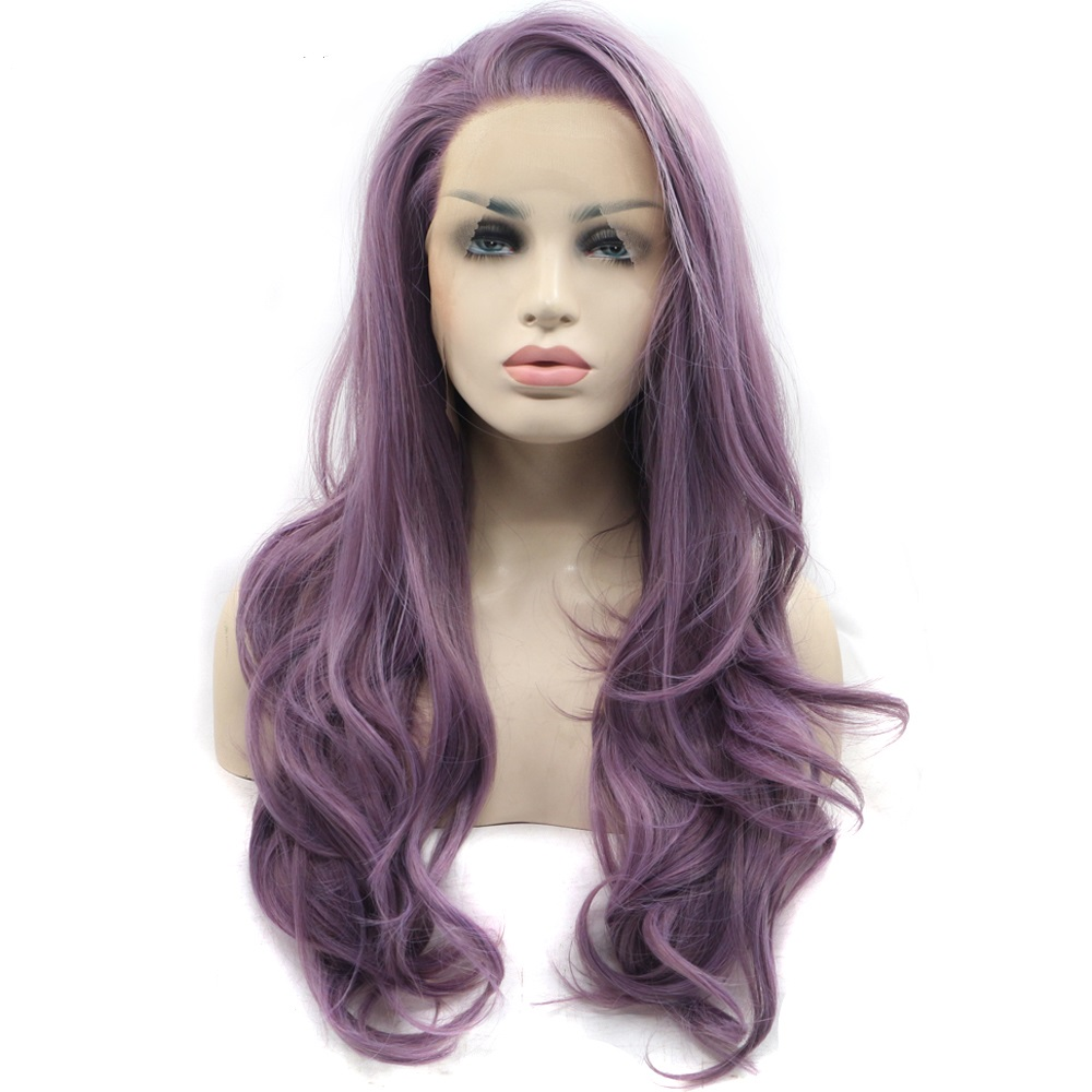 Marquesha Fashion Synthetic Lace Front Wigs Long Wavy Lavender Purple Lace Front Wigs For Women