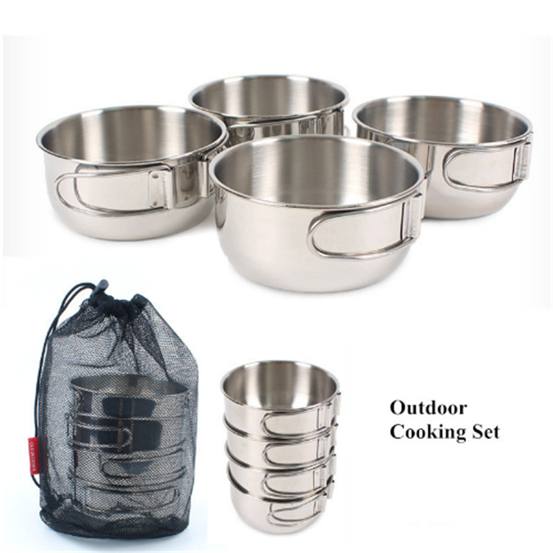 Camping Outdoor Tableware Stainless Steel Bowls 700ml Folding Cooking Set Hiking Taveling Cookware With Net Bag