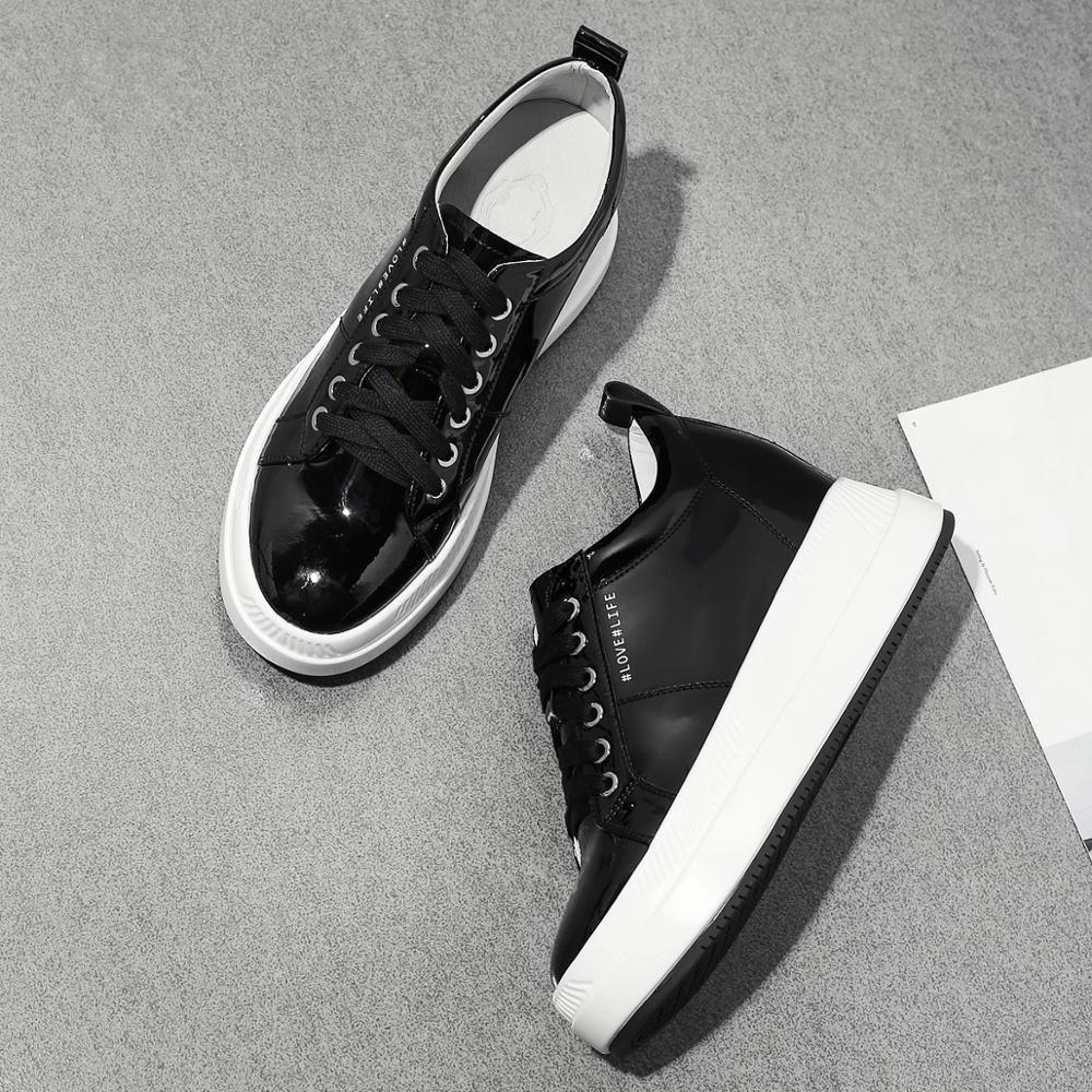 2019 skórzane buty kobiet Sneakers platformy czarne beżowe na co dzień kobiety trampki 7.5 cm w Damskie buty z gumową podeszwą od Buty na  Grupa 3