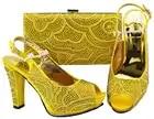 Размер 38 до 43 Высокий каблук 4,5 дюйм(ов) ярко желтый цвет обувь в цвет сумки для aso ebi 2018 г. комплект из туфель и сумочки Итальянский новый SB8257 3