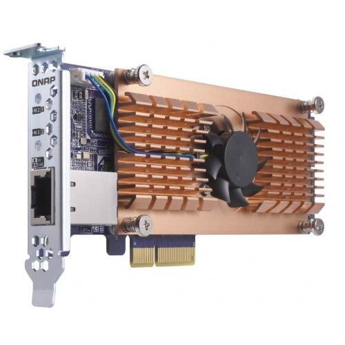 QNAP QM2-2P10G1T, M.2, PCIe, RJ-45, Bas-profil, pleine hauteur (low-profile), PC, Noir, Brun, acier inoxydable
