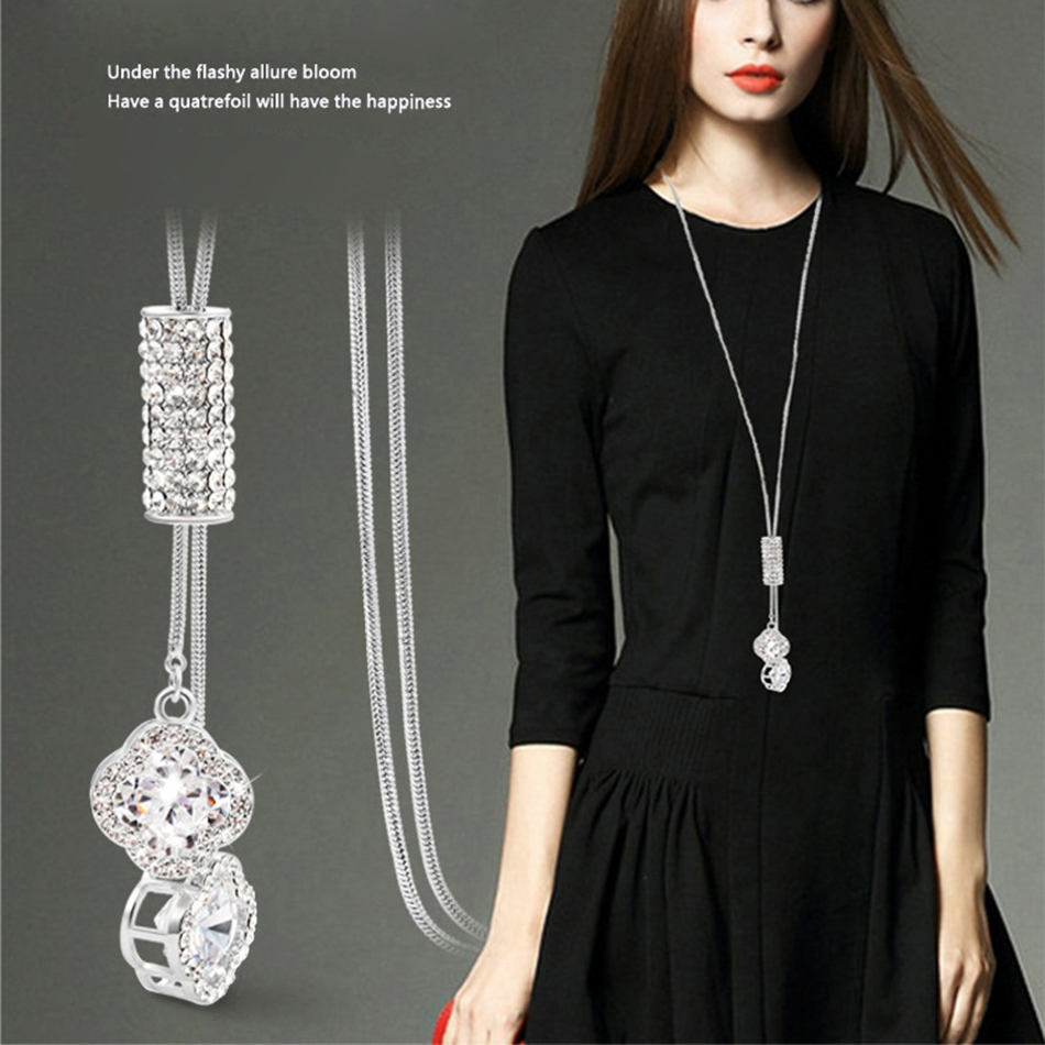 2018 HOT Simulated Crystal Long Sweater Chain Circles Necklace Vintage Accessary Crystal Collares Statement Jewlery