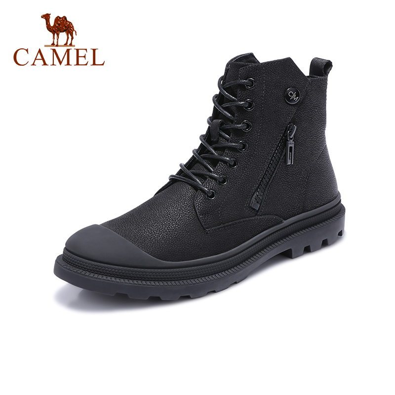 CAMEL Men boots Men s Genuine Leather Shoes Retro High top Trend Wild Casual Boots England