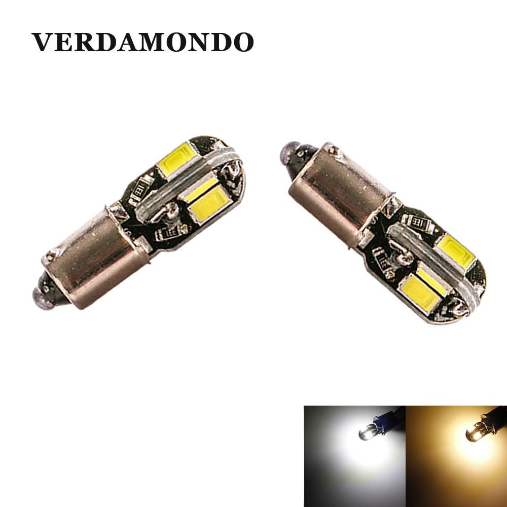 2Pcs BA9S T4W LED 8SMD 5730 Light Bulbs DC 12V For Car Reading Light Lamp Bulb Car Styling Warm White White
