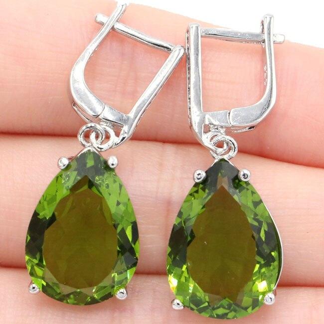 Classic 18x13mm Pear Shape Green Peridot Natural CZ Gift 925 Silver Earrings 35x13mm