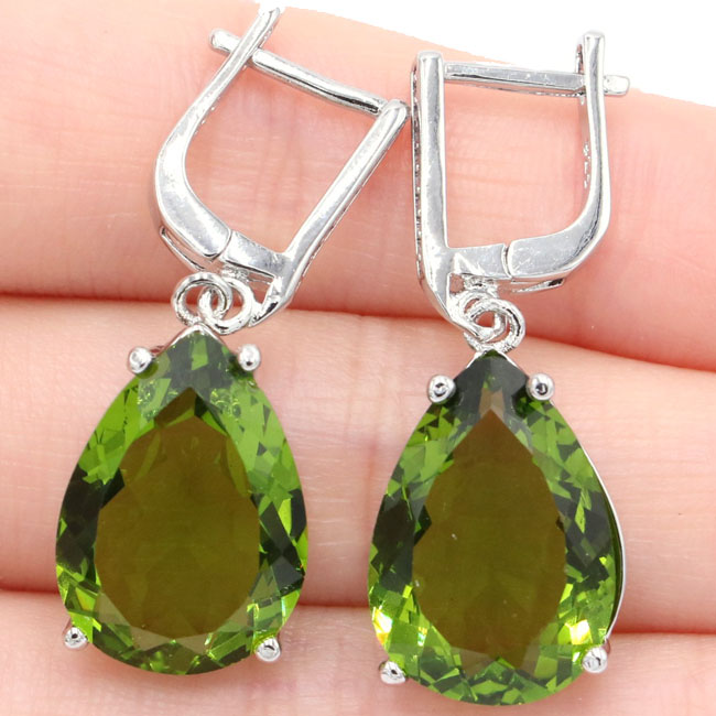 Classic 18x13mm Pear Shape Green Peridot Natural CZ Gift 925 Silver Earrings 35x13mm