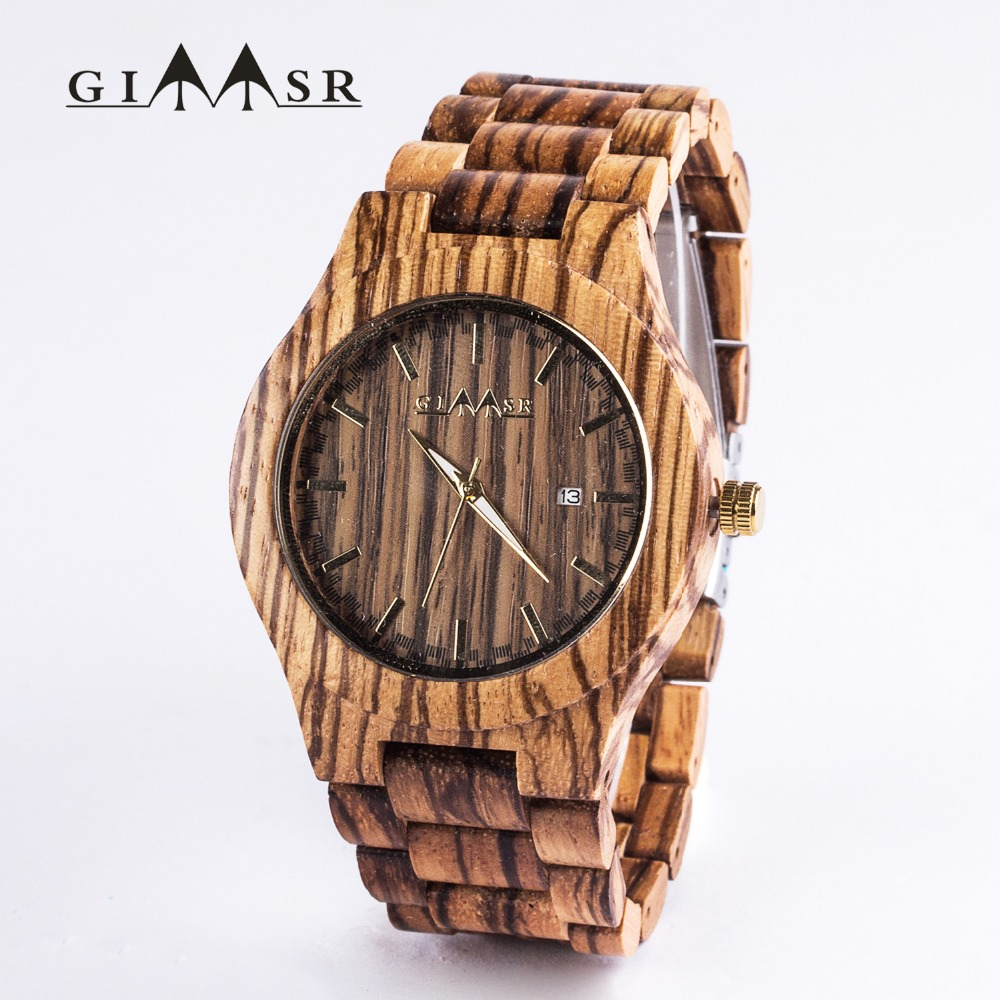 GIMSR Wood Watch Men Fashion Quartz Clock Mens Watches Top Brand Luxury Full Wooden Luxury Business Wristwatch Relogio Masculino new fashion wooden watches men luxury brand modern wood wristwatch quartz day date square clock male business dress watch